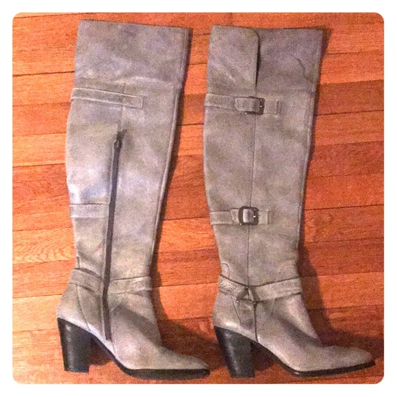 54c18dba27a Gray soft leather over the knee boots.